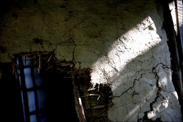 폐가 기울어진 빛이 허물어진 지붕 사이로 들어온다. 안과 밖은 나뭇가지와 짚, 진흙이 경계를 이루고 있으니 겨울이면 찬바람에 얼마나 떨었을까?
