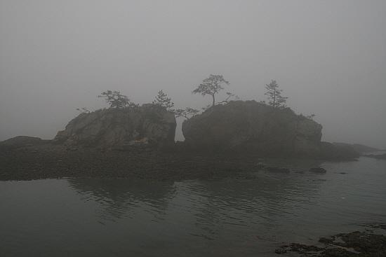땅끝 맴섬 형제바위 형제바위를 감돌고 있는 농무는 보길도로 가는 배를 잡고 있다