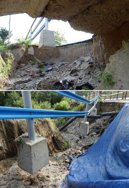 땅이 꺼지는 일이 종종 발생하는 중국이 아닙니다. 'MB표 4대강 자전거도로'입니다. 곳곳에 자전거도로가 붕괴돼 '콘크리트 케이블카' 같은 진기한 장면이 연출됐습니다. 이런 끔찍한 곳으로 자전거 타러 나오라고요?