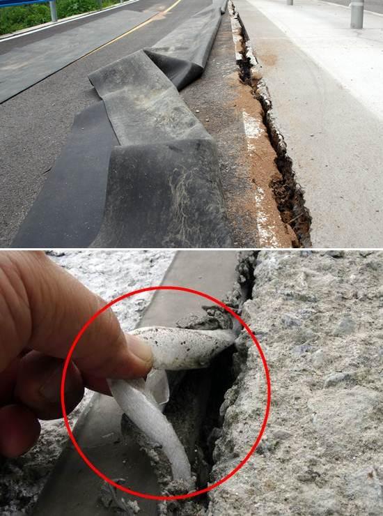 2012년 8월 이미 함몰되고 지반이 침하한 북한강 자전거도로의 틈새(위의 사진)를 지금은 검은색 실리콘(아래 사진)으로 말끔히 메웠습니다. 그런데 손가락을 넣어보니 이곳 역시 대국민 사기였습니다. 호스형 스티로폼을 넣고 그 위에 실리콘으로 살짝 떼운 것입니다. 저 스티로폼과 실리콘이 자전거도로 붕괴를 막아 줄 만큼 강력할까요? 'MB표 사기극'의 진수를 보여주는 현장입니다.