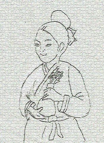 고려시대 여인의 모습 중 하나를 묘사한 연필 스케치.
