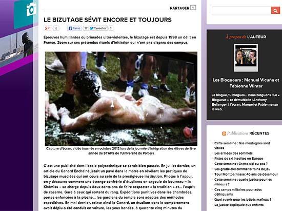 달걀과 밀가루, 기름이 범벅이 된 채 알몸으로 기어가고 있는 신입생 모습을 담은 영상이 프랑스에서 논란이 되기도 했다. 화면은 해당 영상을 소개한 기사.