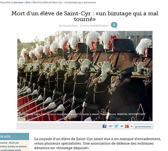 <르피가로>의 'St-Cyr 군사학교 학생 사망, 비주타주 희생'이란 제목의 기사