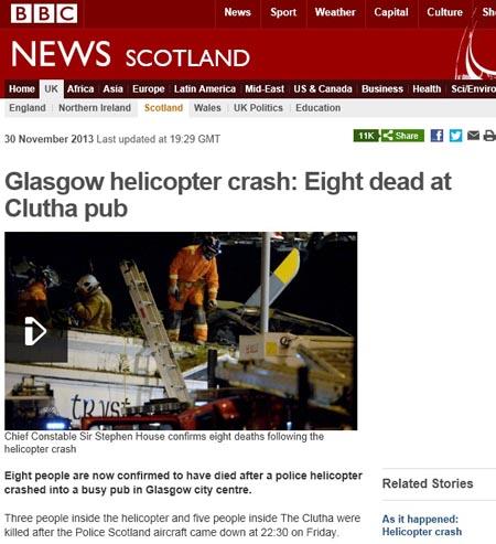 스코틀랜드 글래스고의 경찰 헬리콥터 추락 사고를 보도하는 영국 BBC 갈무리.