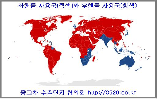 좌핸들 사용국과 우핸들 사용국가 현황 일본 영국등 우핸들 사용국가들이 전세계에 약 50여개국에 이르고 나머지 국가들은 모두 좌핸들 사용국가들이다.