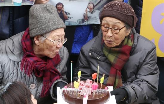 """수요집회 22주년, """"어느덧 90대 할망구 됐지만..."""""""