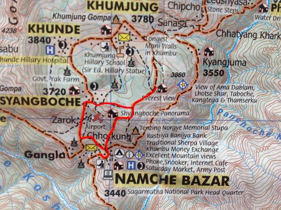 산행길 남체바자르 오른쪽으로 올라 왼쪽으로 내려왔다(축척 1:5,000)