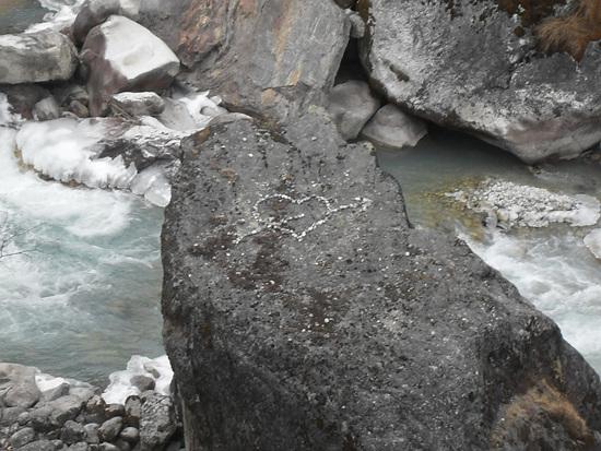 마음 길에서 바위까지 높이가 수직으로 150m 정도 된다.