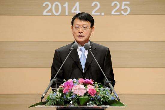 안광한 MBC 사장이 25일 취임식에서 포부를 밝히고 있다.