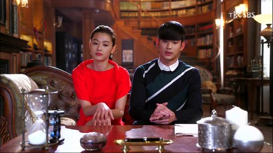SBS <별에서 온 그대> 마지막 회의 한 장면. 도민준(김수현 분)과 천송이(전지현 분).
