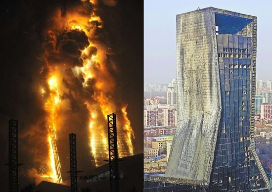 cctv 화재사건 모습과 이후 앙상한 모습 공식 피해액은 300억원으로 발표됐지만 실질 비용은 그보다 휠씬 많은 것으로 알려졌다