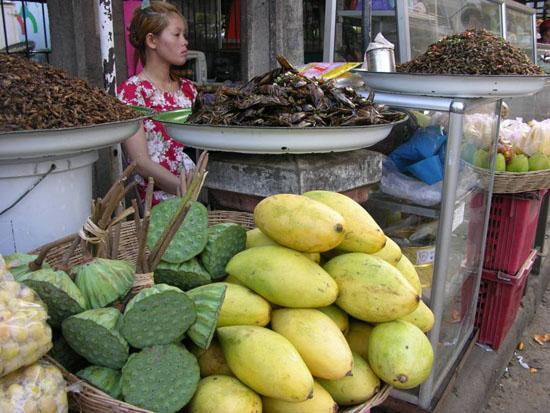 이 어촌마을에서 가장 가까운 재래시장의 모습. 망고같은 열대과일은 물론이고, 메뚜기나 땅강아지, 귀뚜라미와 물장구벌레 같은 벌레 튀김도 현지인들의 즐기는 대표적인 간식거리다.