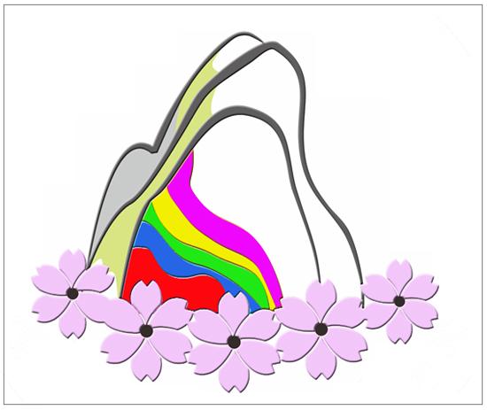 오색1리 마을의 CI 마을에서 흔히 볼 수 있는 산벚꽃 다섯송이로 '마산·구라우·관대문·백암·가라피' 다섯 마을 공동체를 표현하고, 설악을 중심으로 오색의 선을 넣어 오색마을을 표현했다.
