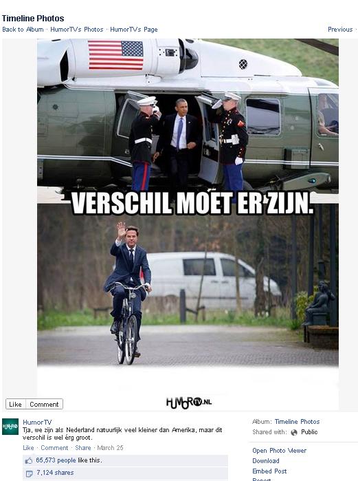오바마의 헬기와 뤼터의 자전거를 비교해놓은 사진이 페이스북에 올라오며 뜨거운 관심을 받았다.