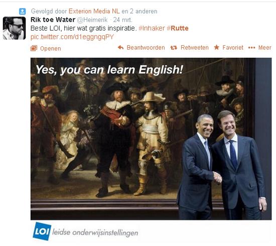 뤼터 네덜란드 수상의 영어 발음을 지적하는 한 트위터 글