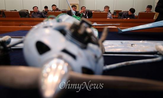 11일 대전 국방과학연구소에서 북 추정 무인기와 부품들이 언론에 공개되었다.