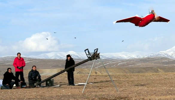 중국산 무인기 파주, 삼척에서 발견된 무인기와 비슷한 중국산 무인기 'SKY-09H의 발사 모습.