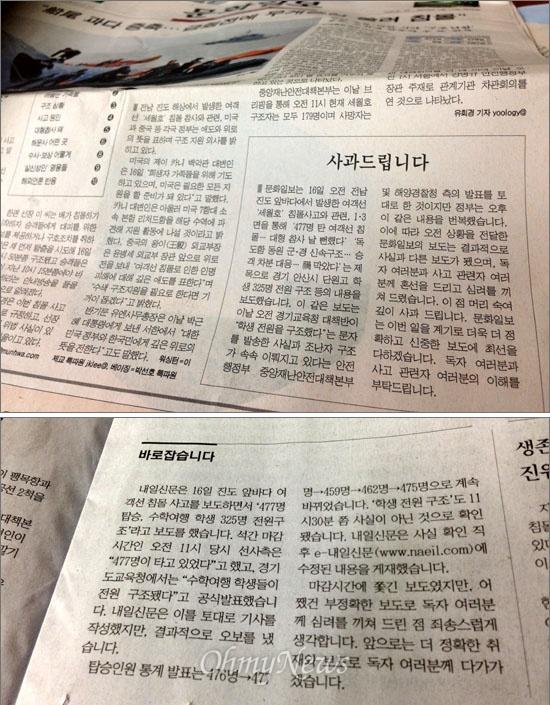 석간 <문화일보>와 <내일신문>은 17일자 신문에 전날 세월호 침몰 사고 직후 '수학여행 학생 325명 전원 구조'라고 잘못 보도한 데 대해 사과했다.