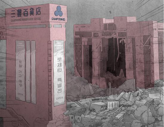 1995년 무너진 삼풍백화점. 웹툰 <삼풍> 중 한 장면