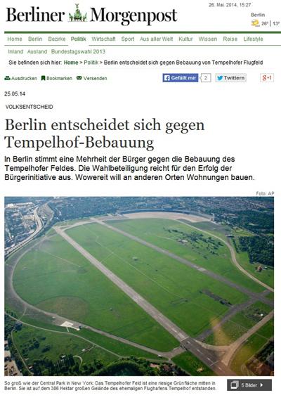 템펠호프 공항 부지 소식을 전하고 있는 독일 <베를리너모르겐포스트>