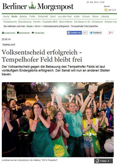 템펠호프 공항부지 관련 주민 찬반투표 결과 소식을 전하고 있는 <베를리너모르겐포스트>