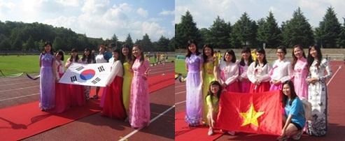 베트남 유학생 축구대회 개막식 한복과 아오자이를 입은 유학생들