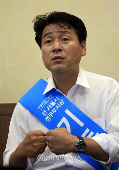 7·30 재보궐선거에서 광주 광산을 국회의원에 도전한 기동민 전 서울시 정무부시장이 지난달 30일 광주 광산구 사무실에서 <오마이뉴스>와 인터뷰를 하고 있다.