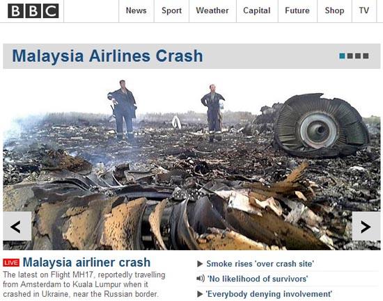 말레이시아항공 보잉 여객기 추락 사고를 보도하는 BBC뉴스 갈무리.