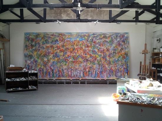 대산리의 작업실에서 만난 미완성 작품. 민족의 화합과 통일의 바램이 꽃으로 피어났습니다.