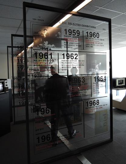 백남준 생애와 작품과 관련된 시대의 중요사건과 전시를 일목요원하게 숫자와 사진과 자료를 통해 전시용 유리판에 써놓았다