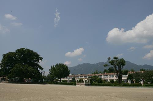 600살 넘은 느티나무를 보유하고 있는 한재초등학교 전경. 학교도 100년 가까운 역사를 지니고 있다.