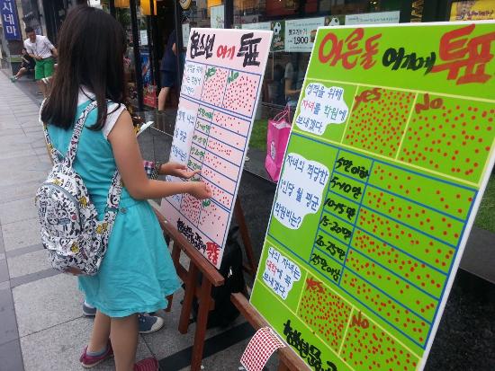 사진 1. 진주 영화관 앞에서 설문조사 해주시는 청소년의 모습.