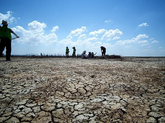 말라 버린 호수 염분이 많은 내몽고의 호수가 말라버리면서 사막화가 진행되고 있다.