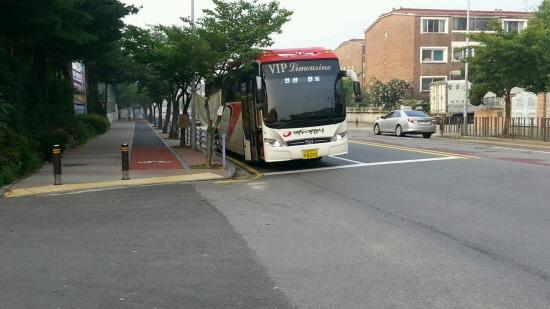 진도로 향하는 버스 안산 올림픽 기념관 앞에서 출발해 진도 실내체육관까지 가는 버스가 매일 운행되고 있다.