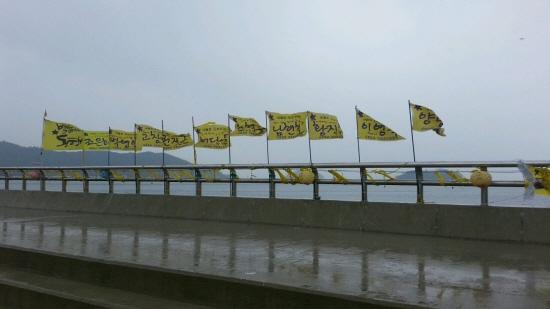 귀환을 기원하는 노란 깃발 실종자분들의 이름이 적힌 노란 깃발들이 바람에 날리고 있다.