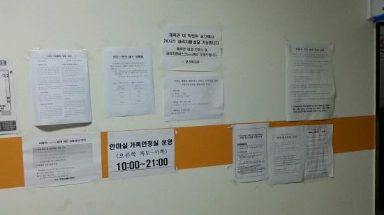각종 게시물들 진도에서 머물면서 필요한 각종 정보들이 벽에 붙어있다. 셔틀버스 시간표부터 자원봉사자들이 숙지해야할 수칙까지 다양한 정보가 게시되어있다.
