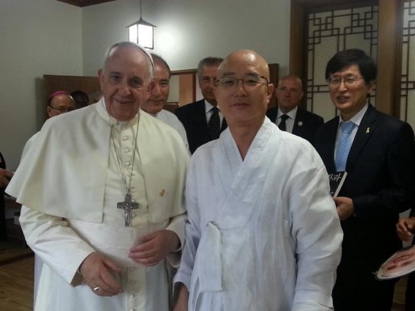 교황과 스님 영적인 스승으로 모시고 싶다는 스님
