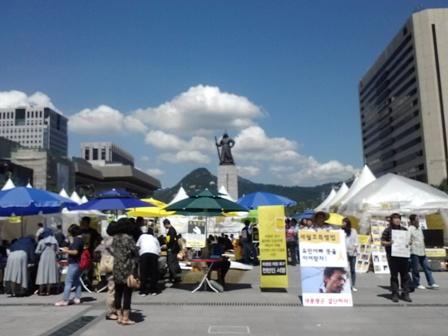 2014년 8월 28일 광화문 세월호 농성장 모습 광화문 농성장에서 세월호 특별법 촉구를 위한 서명을 받고 있다.