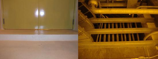 (좌)원전 시설은 심층방호에 개념에 따라 방화구획을 통해 소방시설을 면제받고 있으나 일부 방화문은 기밀조차 유지되지 못하고 있는 상태였다. (우)신고리 1호기 지하1층 기계실에서 지하구로 연결되는 관통부의 공간이 개방되어 있는 등 방화구획이 미비한 상태로 방지되고 있었다.