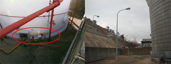 방유제 내부에 설치된 잘못된 시설 (좌) 고리2발전소 위험물 옥외탱크저장소 방유제 안에 설치되어 있는 전기시설. (우) 원전 시설 보조보일러 연료탱크에 설치된 방유제 내부의 가로등.