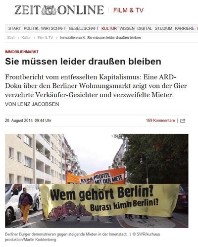 독일 주간지 <디 자이트>는 지난딜 20일, 날로 상승하는 월세에 항의하는 베를린 사람들에 대한 기사를 보도했다.