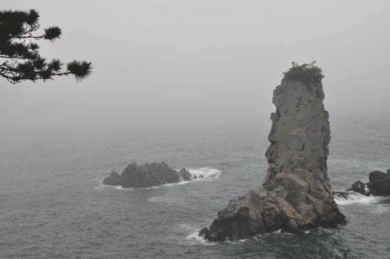 '외돌개'쇠소깍, 산방산과 함께 국가지정문화재 명승. 올레7코스의 시작점이며 주변 해안 경관이 뛰어나다.  장금의 스승인 한상궁(양미경 분)이 유배가던 도중 죽음을 맞이했던 대장금 촬영지로도 유명.  바다 가운데 듬직하게 서있는 모습은 외로움 보다는 초연함이 전해진다.
