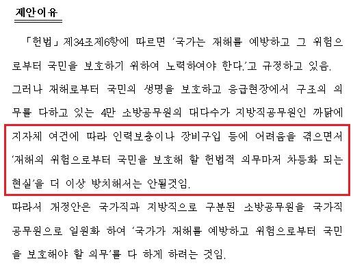 소방공무원법 일부개정법률안(의안번호 10861) 제안이유 새정치민주연합 김영록의원이 지난 6월 12일 발의했다.