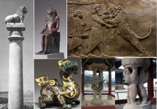 인도 아소카왕 사자 돌기둥, 이집트 사자머리 신상, 메소포타미아 사냥하는 왕, 중국 사자 장식, 속리산 법주사 쌍사자 석등입니다.