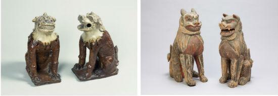 사진 왼쪽은 유약을 발라서 구운 고마이누 한 쌍이고 오른쪽은 나무로 만든 사자 한 쌍입니다.
