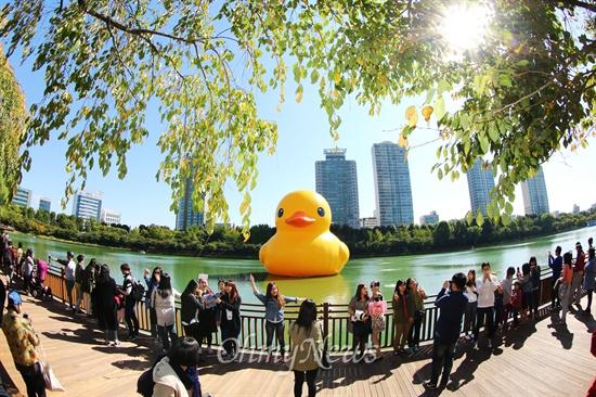 러버 덕 구경 나온 시민들 14일 오후 서울 송파구 석촌호수에 떠 있는 네덜란드 예술가 플로렌타인의 작품 러버덕(Rubber Duck)' 을 배경으로 많은 시민들이 사진을 찍고 있다.