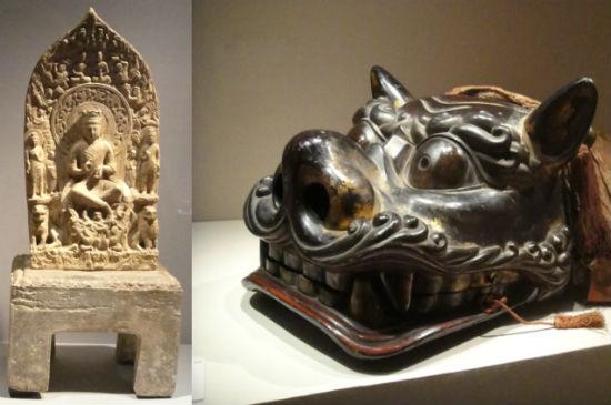 6세기 중국 동위 시대 만들어진 불상(交脚菩薩五尊像) 양쪽에 새겨진 사자상과 사자탈춤에 사용된 사자탈입니다.