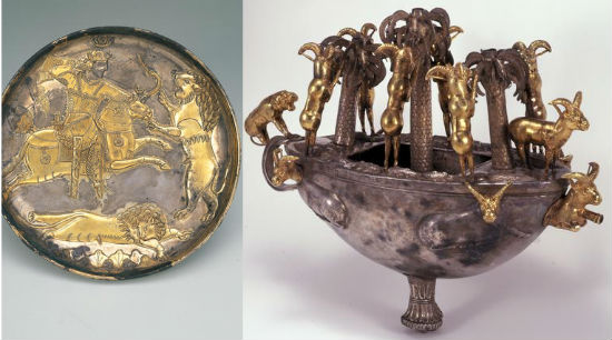사자와 왕이 같이 그려진 접시(7세기, 사산조페르시아)와 산양과 사자가 같이 나오는 배 모습 그릇(BC.8-6 세기, 페르시아)입니다.