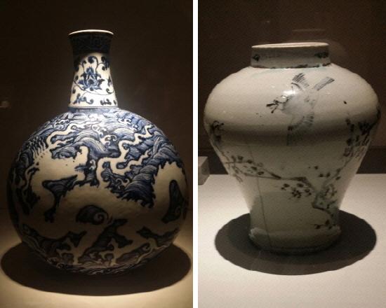 (좌) 용 파도무늬 편병 / (우) 매화 대나무 새무늬 항아리 15~16세기