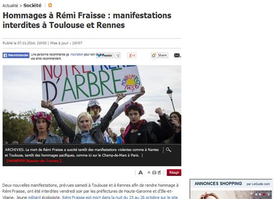 <르파리지앵>은 레미 프레스의 죽음 관련, 고등학생들까지 시위에 나섰다고 보도했다.